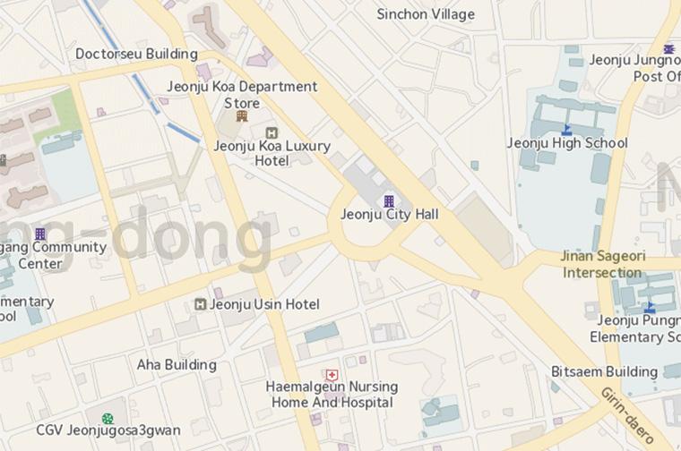Jeonju City English Directions - Jeongju map
